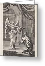 Cornelius Kneels Before The Angel Sent Greeting Card