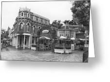 Corner Cafe Main Street Disneyland Bw Greeting Card