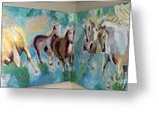 Corner Horses Greeting Card by Vicky Tarcau