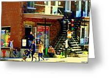 Corner Laurier Marche Maboule Depanneur Summer Stroll With Baby Carriage Montreal Street Scene Greeting Card