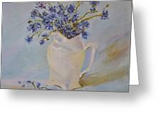 Cornflowers Oil Modern Paintings Greeting Card