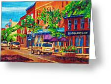 Corona Theatre Presents The Burgundy Lion Rue Notre Dame Montreal Street Scene By Carole Spandau Greeting Card