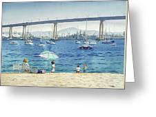 Coronado Beach And Navy Ships Greeting Card