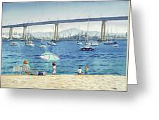 Coronado Beach And Navy Ships Greeting Card by Mary Helmreich