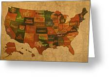 Corporate America Map Greeting Card