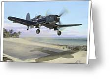Corsair Takeoff Vf-17 Jolly Rogers Greeting Card