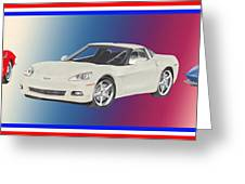 Corvettes In Red White And True Blue Greeting Card