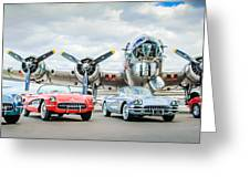 Corvettes With B17 Bomber Greeting Card