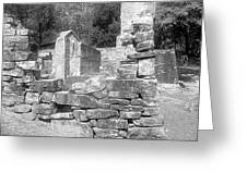 Cosley Mill Ruins In Black And White Greeting Card