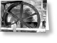 Cosley Mill Waterwheel In Black And White Greeting Card