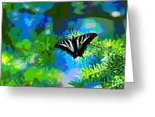 Cosmic Butterfly In The Pines Greeting Card