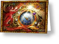 Cosmic Clock Greeting Card by Ciro Marchetti