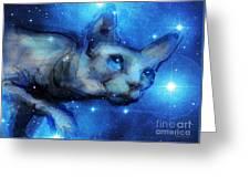 Cosmic Sphynx Cat  Greeting Card