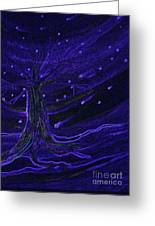 Cosmic Tree Blue Greeting Card