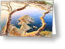 Costa Brava In Spain With Crayons Greeting Card