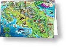 Costa Rica Map Illustration Greeting Card