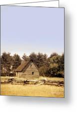 Cottage And Splitrail Fence Greeting Card