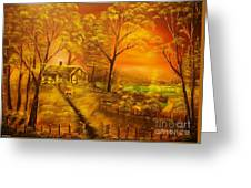 Cottage By The Lake-original Sold- Buy Giclee Print Nr 32 Of Limited Edition Of 40 Prints  Greeting Card