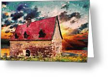 Cottage By The Sea - Abstract Realism Greeting Card