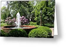 Cottage Garden Fountain Greeting Card