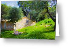 Cottage In The Forest Greeting Card