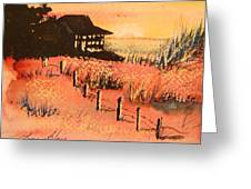 Cottage On Beach Greeting Card