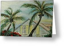 Cottage Rooftops And Palm Trees Harbor Island Greeting Card