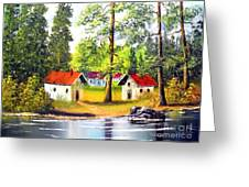 Cottages By The Lake Greeting Card