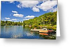 Cottages On Lake With Docks Greeting Card