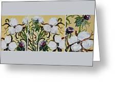 Cotton Triptych Greeting Card by Eloise Schneider