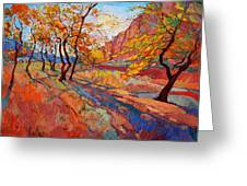 Cottonwood Shadow Greeting Card by Erin Hanson