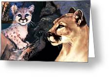 Cougar And Babe Greeting Card