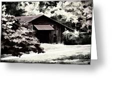 Country Charm In Dramatci Bw Greeting Card