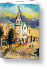 Country Church At Sunset Greeting Card
