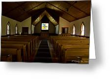 Country Church Interior Greeting Card