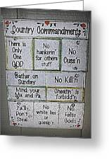 Country Commandments Greeting Card