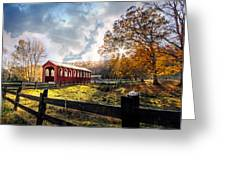 Country Covered Bridge Greeting Card by Debra and Dave Vanderlaan