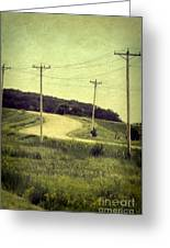 Country Dirt Road And Telephone Poles Greeting Card