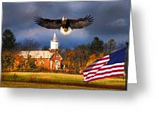country Eagle Church Flag Patriotic Greeting Card