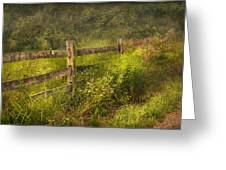 Country - Fence - County Border  Greeting Card by Mike Savad