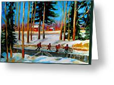 Country Hockey Rink Greeting Card