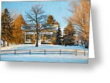 Country Home Impasto Greeting Card