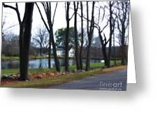 Country Home Through The Trees Greeting Card