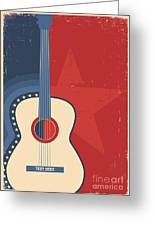 Country Music Poster With Guitar On Old Greeting Card
