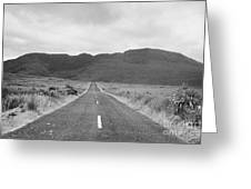 country road heading off into the Connemara mountains County Galway Greeting Card