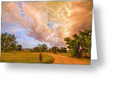 Country Road Into The Storm Front Greeting Card