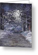Country Road On A Wintery Night Greeting Card