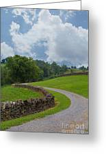 Country Road With Limestone Fence Greeting Card