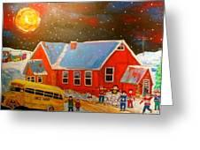 Country Schoolyard Memories Greeting Card by Michael Litvack