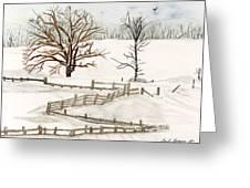 Country Snow Scene Ozaukee County Wisconsin Greeting Card